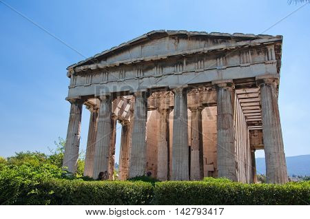 Temple of Hephaestus in ancient Agora. Athens in Greece.