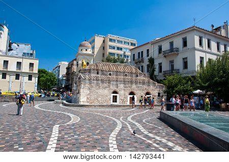 Monastiraki Square on August 4 2013.Athens Greece.
