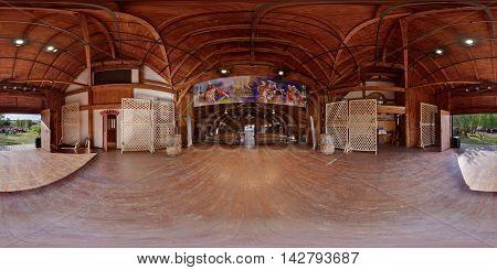 CĂLUGĂRENI, ROMANIA - August 13: 360 panorama of the interior of the Barn Theater (Csűrszínház *** Teatrul Șură) on the 4R (Roman) Festival on August 13th, 2016, in Mikháza (Călugăreni), Transylvania, Romania.