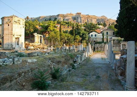 View of the Tower of the Winds in the Ancient Agora in Athens Greece.