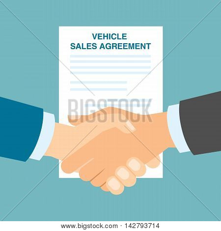 Vehicle sales agreement handshake. Making agreement in buying or selling vehicle transport.S