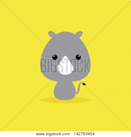 Cute cartoon wild rhino on a yellow background