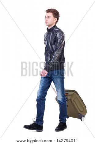 front  view of walking  man  with suitcase.  brunette guy in motion. backside view of person.  Rear view people collection. Isolated over white background. Curly guy in a black leather jacket goes to