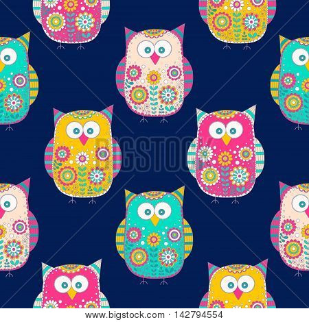 Seamless vector pattern with cartoon doodle owls. Cute birds with hand drawn floral ornament. Bright color owls on dark background. Nice design for kids.