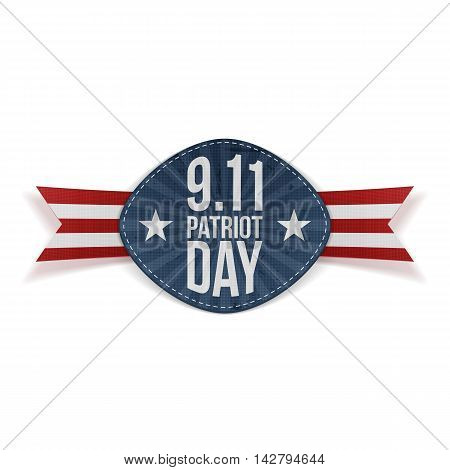 Patriot Day 9-11 Banner with Ribbon. Vector Illustration