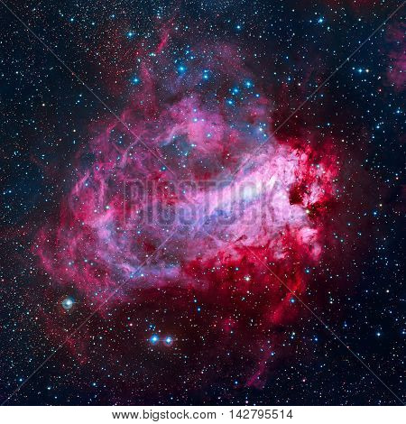 The Omega Nebula, also known as the Swan Nebula, Checkmark Nebula, and the Horseshoe Nebula Messier 17, M17 is an region in the constellation Sagittarius. Elements of this image furnished by NASA.