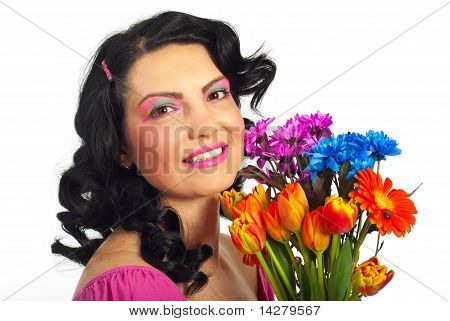 Spring Woman With Creative Make Up