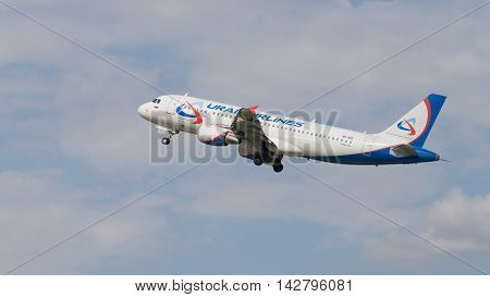 The Moscow region - 31 July 2016: Beautiful passenger plane Airbus A320-214 Ural Airlines takes off and takes place in Domodedovo airport July 31 2016 Moscow Region Russia