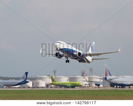 The Moscow region - 31 July 2016: Very powerful large passenger plane Boeing 737-8K5 / W NordStar Airlines flies to Domodedovo airport July 31 2016 Moscow Region Russia