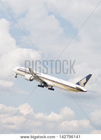 The Moscow region - 31 July 2016: Very powerful passenger plane Boeing 777-312ER Singapore Airlines taking off at the airport Domodedovo 31 July 2016 Moscow region Russia
