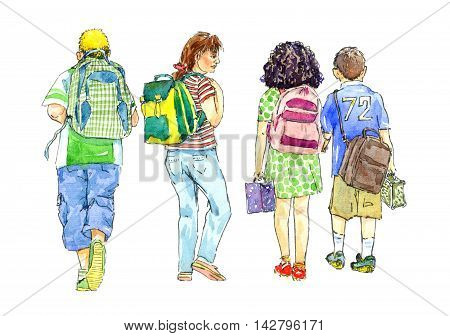 Hand painted Watercolor Illustration «Girls and boys going to school with school bags»