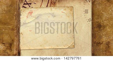 Old Vintage Album With Paper Postcards