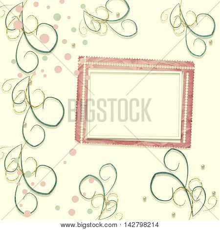 Old vintage paper frame with curls for holiday invitations and greetings