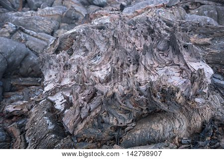 Details of lava streams on the slopes of Tolbachik Volcano, Kamchatka, Russia