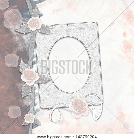 Old Album With Painted Roses And Frames