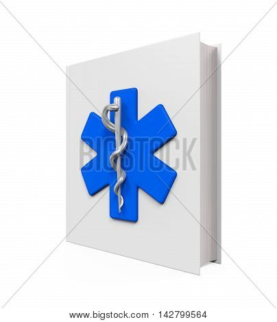 Medical Book with Star of Life Symbol isolated on white background. 3D render