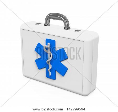 First Aid Kit with Star of Life Symbol isolated on white background. 3D render