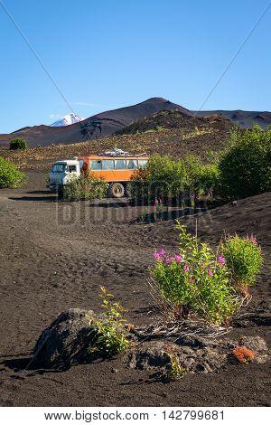 Russian truck (GAZ-66) parked near Tolbachik Volcano, Kamchatka, Russia