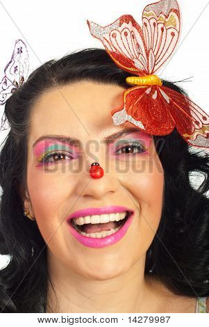 Laughing Woman With Ladybug On Her Nose