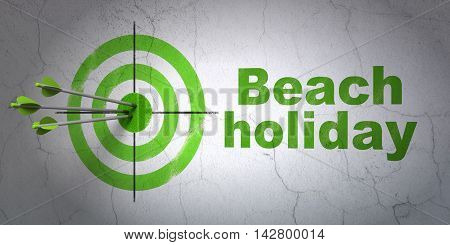Success tourism concept: arrows hitting the center of target, Green Beach Holiday on wall background, 3D rendering