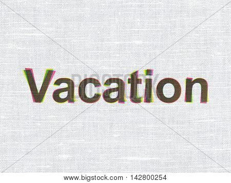 Tourism concept: CMYK Vacation on linen fabric texture background