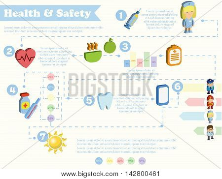 Banner Health and safety infographic, vector illustration