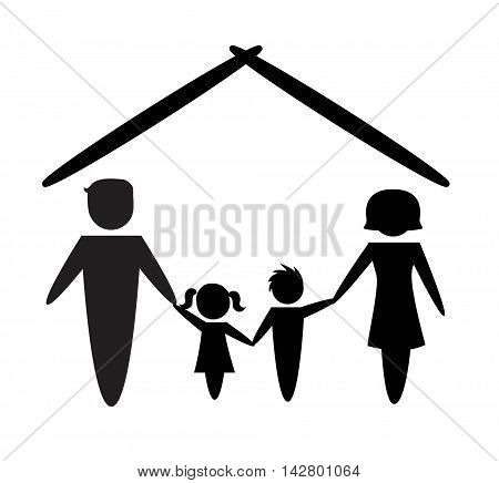 Family icon over white background in flat design. Vector illustration