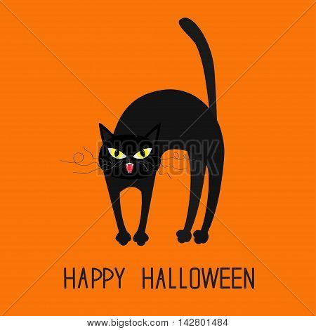 Cat arch back. Yellow eyes fangs curl moustaches whisker. Happy Halloween greeting card. Funny cartoon character. Isolated. Orange background. Flat design. Vector illustration