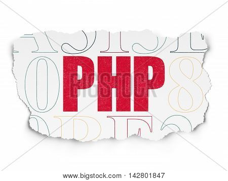 Software concept: Painted red text Php on Torn Paper background with  Hexadecimal Code