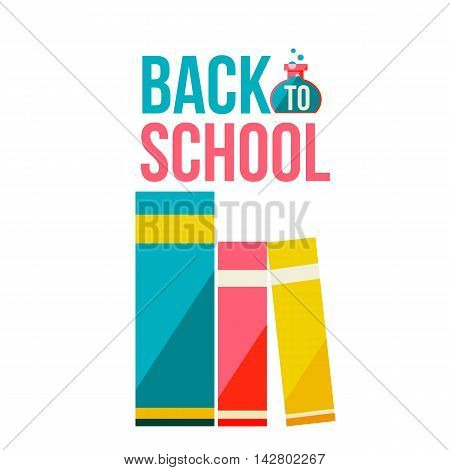 Back to school poster with row of books, flat style illustration isolated on white background. Start of school season concept, poster design with bookshelf as a symbol of educational process