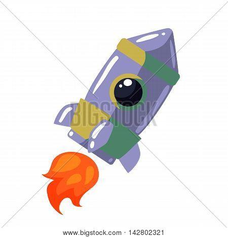 Cartoon rocket illustration. Retro style spaceship on a white background, interstellar travelling, shuttle illustration