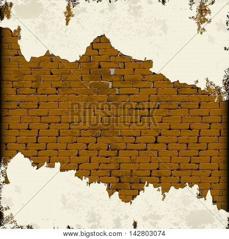Background old brick wall with cracked and crumbling plaster the image display as a frame you can place any text or image.