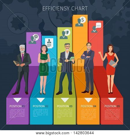 group of positive business people standng on stylised business charts