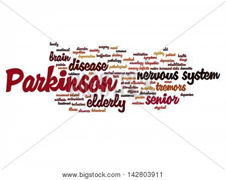 Vector concept conceptual Parkinson`s disease healthcare or nervous system disorder abstract word cloud isolated on background