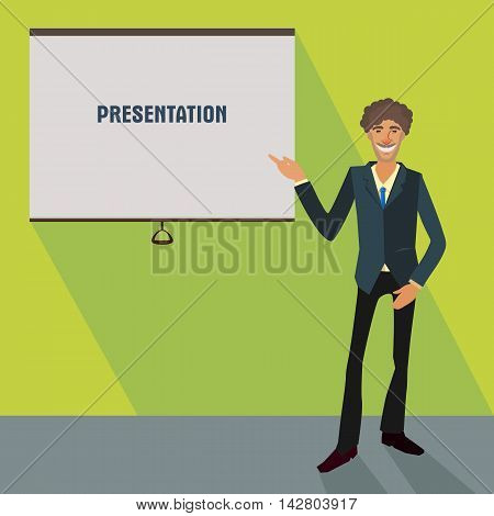 fun business man in a suit showing a plackard, stylised conceptual illustration