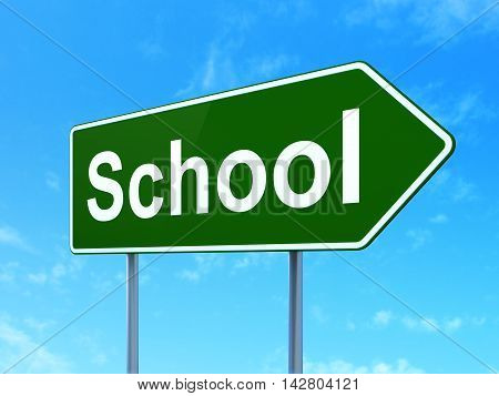 Education concept: School on green road highway sign, clear blue sky background, 3D rendering