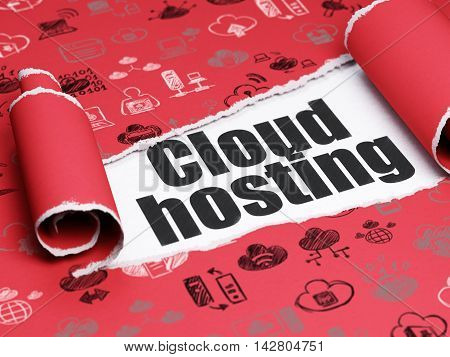 Cloud networking concept: black text Cloud Hosting under the curled piece of Red torn paper with  Hand Drawn Cloud Technology Icons, 3D rendering