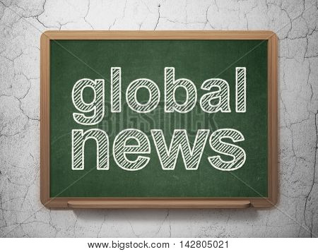 News concept: text Global News on Green chalkboard on grunge wall background, 3D rendering