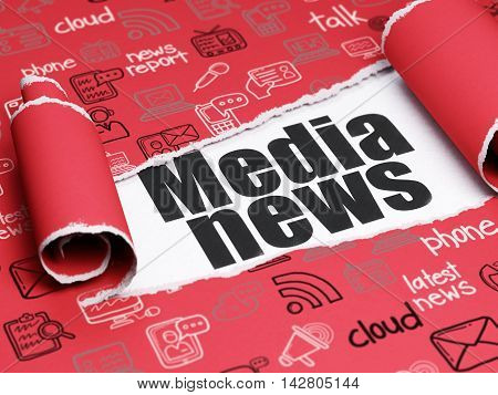 News concept: black text Media News under the curled piece of Red torn paper with  Hand Drawn News Icons, 3D rendering