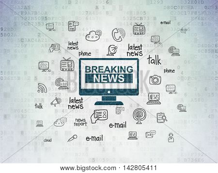 News concept: Painted blue Breaking News On Screen icon on Digital Data Paper background with  Hand Drawn News Icons
