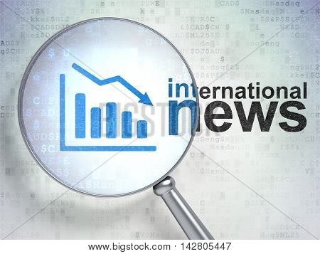 News concept: magnifying optical glass with Decline Graph icon and International News word on digital background, 3D rendering