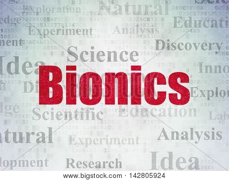Science concept: Painted red text Bionics on Digital Data Paper background with   Tag Cloud