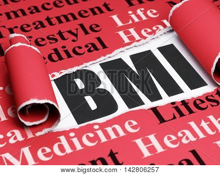 Medicine concept: black text BMI under the curled piece of Red torn paper with  Tag Cloud, 3D rendering