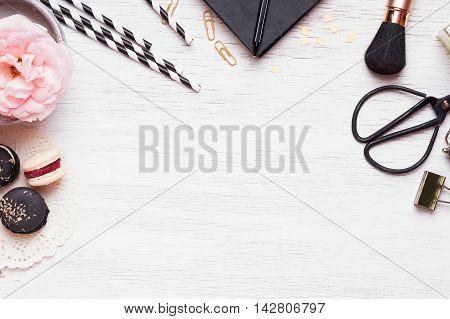 Cute feminine stuff on white background top view