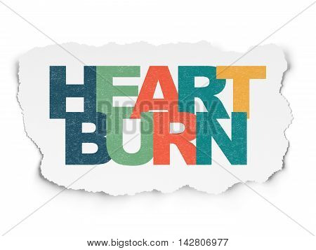 Medicine concept: Painted multicolor text Heartburn on Torn Paper background