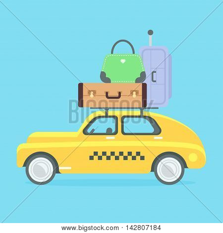 Taxi vector illustration. Yellow flat taxicab. Isolated retro car with suitcases. Car carries a lot of baggage on a journey. Flat style vector illustration. Vacation and trip.