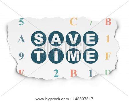 Time concept: Painted blue text Save Time on Torn Paper background with  Hexadecimal Code