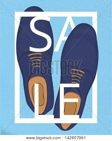 A poster on aged paper. Discounts on mens blue shoes. Advertising business shoes. Vector illustration