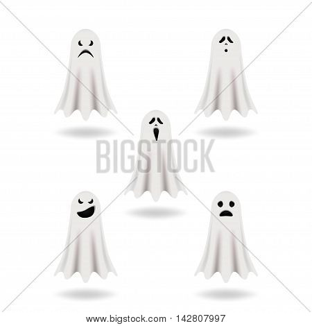 Vector set of ghosts for Halloween design. Isolated on white ghostly figure.