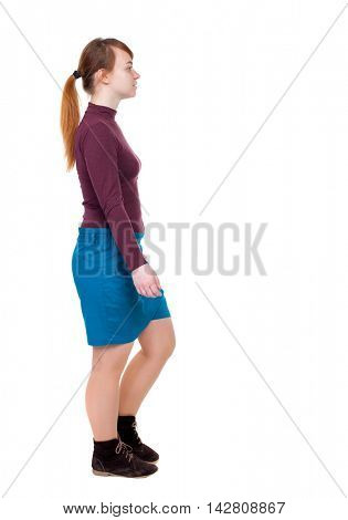 back view of walking  woman. beautiful blonde girl in motion.  backside view of person.  Rear view people collection. Isolated over white background. Girl with red hair tied in a pigtail passes.